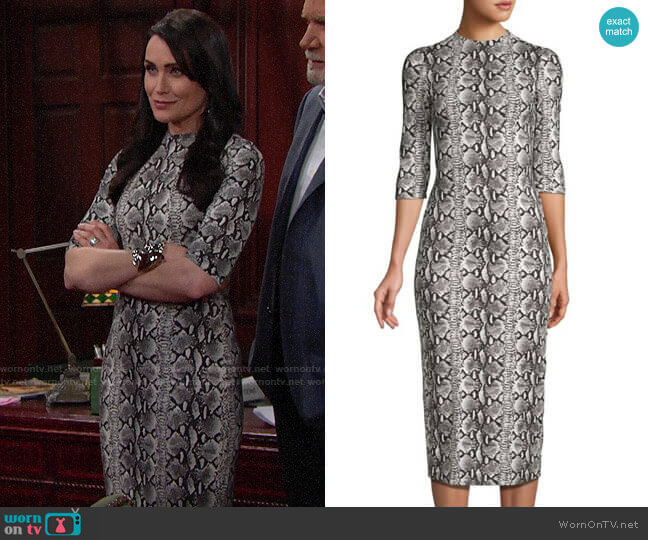 Alice + Olivia Delora Snake Print Dress worn by Quinn Fuller (Rena Sofer) on The Bold & the Beautiful