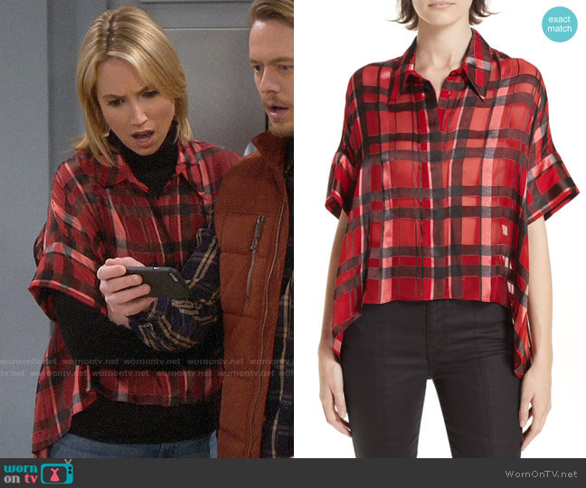 Alice + Olivia Edyth Plaid Shirt worn by Mandy Baxter (Molly McCook) on Last Man Standing