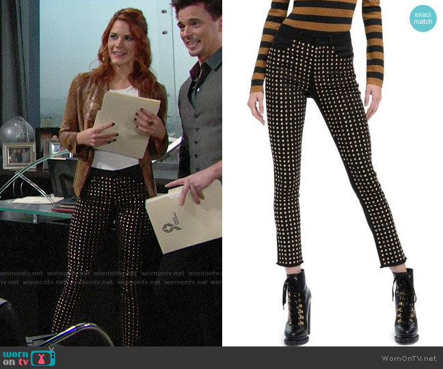 Alice + Olivia Kirk Studded Skinny Jeans worn by Sally Spectra (Courtney Hope) on The Bold & the Beautiful