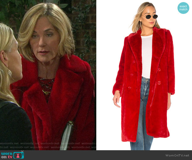 Alice + Olivia Montana Faux Fur Pea Coat worn by Eve Donovan (Kassie DePaiva) on Days of our Lives