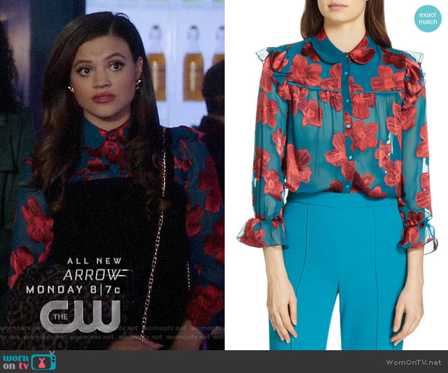 Alice + Olivia Ziggy Shirt worn by Maggie Vera (Sarah Jeffery) on Charmed