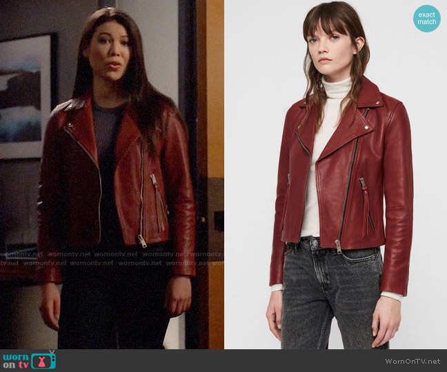 All Saints Dalby Leather Jacket worn by Emiko Queen (Sea Shimooka) on Arrow