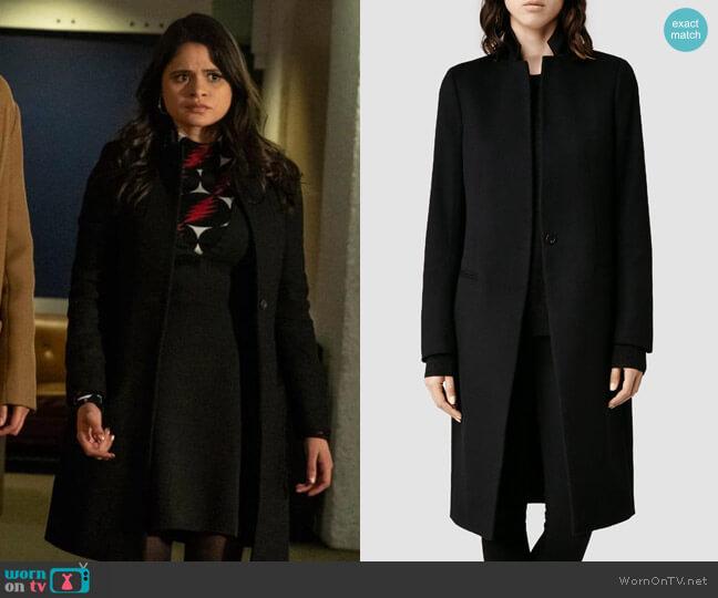 All Saints Eryn Coat worn by Mel Vera (Melonie Diaz) on Charmed