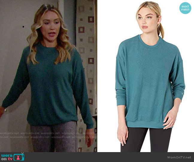 Alo Yoga Soho Pullover in Seagrass Heather worn by Florence (Katrina Bowden) on The Bold & the Beautiful