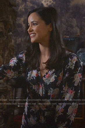 Amy's black floral long sleeved dress on Brooklyn Nine-Nine