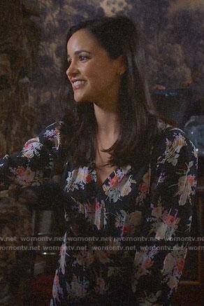 Amy's black floral long sleeved dress on Brooklyn Nine-Nine