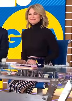 Amy's black turtleneck sweater and striped slit pants on Good Morning America