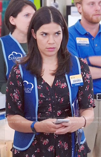 Amy's black floral top on Superstore