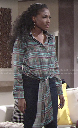 Ana's plaid tie-front blouse on The Young and the Restless