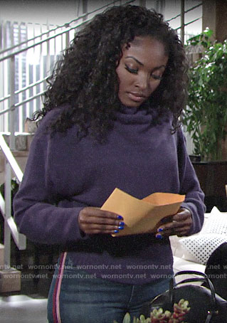 Ana's purple tie sweater and side-stripe jeans on The Young and the Restless