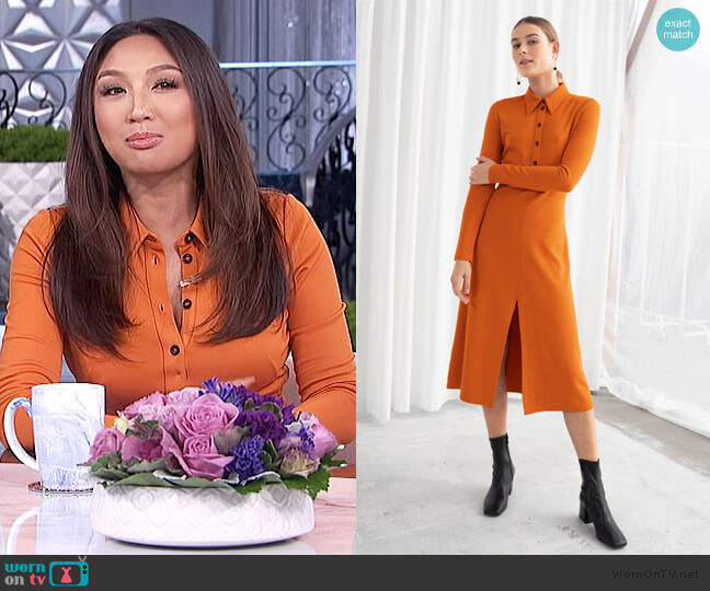 Front Slit Midi Dress by & Other Stories worn by Jeannie Mai  on The Real