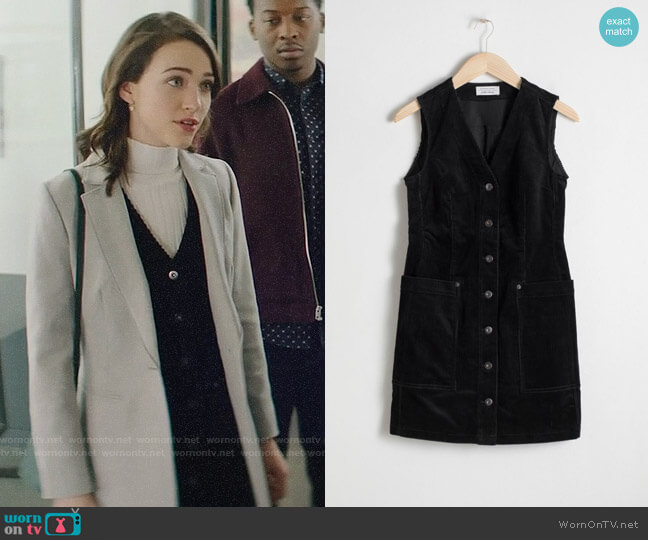 & Other Stories Corduroy Workwear Mini Dress worn by Cara Bloom (Violett Beane) on God Friended Me
