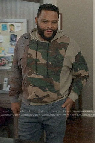 Andre's patchwork camo hoodie on Black-ish