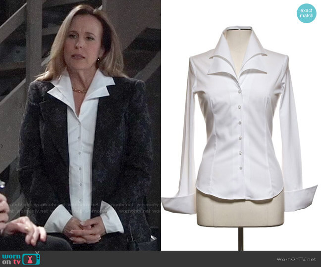 Anne Fontaine Christie Blouse worn by Laura Collins (Genie Francis) on General Hospital