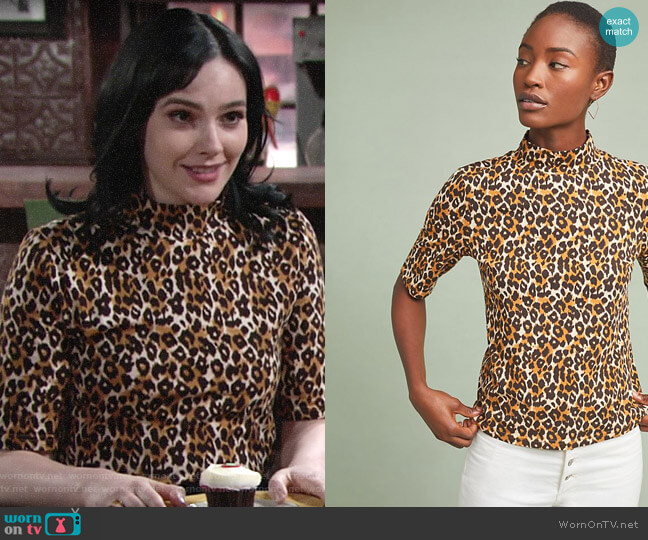 Anthropologie Leopard Short-Sleeved Turtleneck worn by Tessa Porter (Cait Fairbanks) on The Young & the Restless