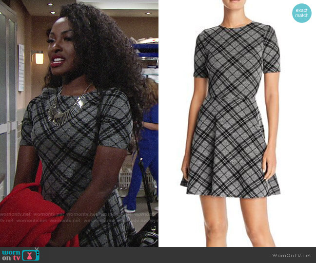 Aqua Flocked Plaid Skater Dress worn by Ana Hamilton (Loren Lott) on The Young & the Restless
