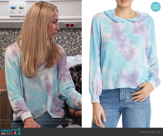 Aqua Tie-Dye Hoodie worn by Josslyn Jacks (Eden McCoy) on General Hospital