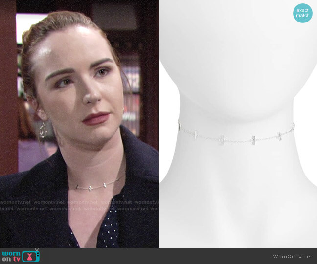 Argento Vivo Bar Station Chain Choker worn by Mariah Copeland (Camryn Grimes) on The Young & the Restless