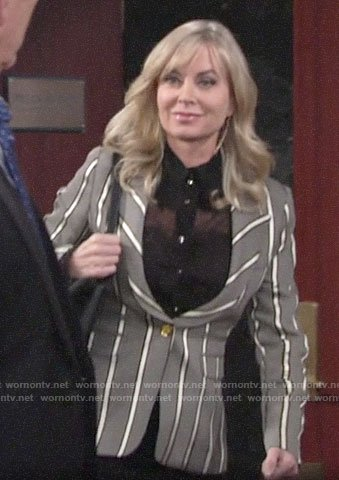 Ashley's striped blazer on The Young and the Restless