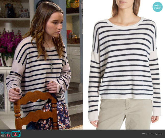 ATM Anthony Thomas Melilo Colorblock Stripe Cashmere Sweater worn by Eve Baxter (Kaitlyn Dever) on Last Man Standing