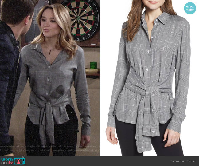 Bailey 44 Hold Me Tight Houndstooth Check Tie Front Shirt worn by Summer Newman (Hunter King) on The Young & the Restless