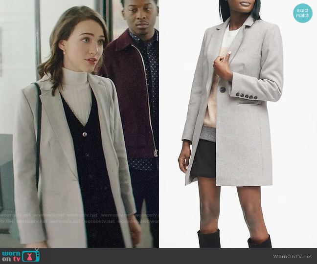 Banana Republic Italian Melton Car Coat worn by Cara Bloom (Violett Beane) on God Friended Me