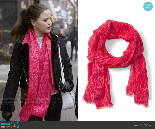 Banana Republic Leopard Print Rectangular Scarf worn by Maggie Vera (Sarah Jeffery) on Charmed