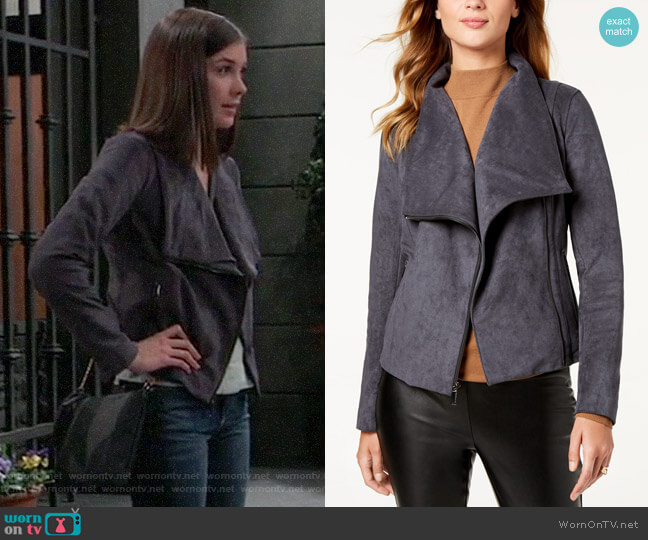 Bcbgeneration Ruffle-Hem Faux-Suede Moto Jacket worn by Willow Tait (Katelyn MacMullen) on General Hospital