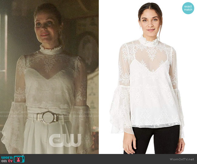 Bcbgmaxazria Ruffled Neck Embroidered Top worn by Charity (Virginia Williams) on Charmed