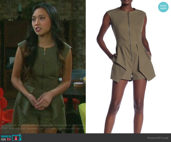 Bcbgmaxazria Front Zip Romper worn by Haley Chen (Thia Megia) on Days of our Lives