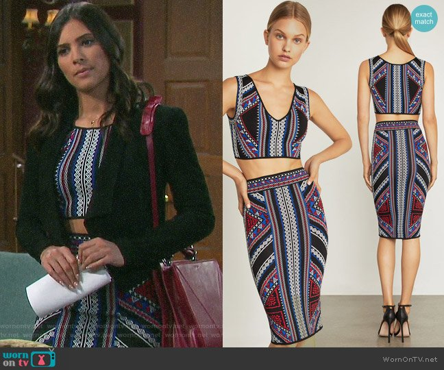 Bcbgmaxazria Geometric Jacquard Crop Top and Skirt worn by Gabi Hernandez (Camila Banus) on Days of our Lives