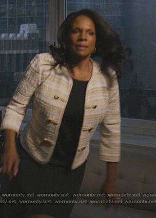 Liz's beige tweed jacket on The Good Fight