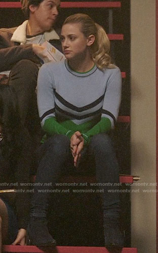 Betty's blue and green chevron sweater on Riverdale