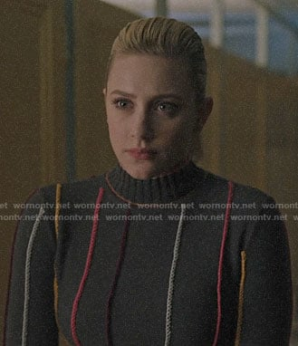 Betty's grey embroidered stripe sweater on Riverdale