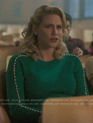 Betty's green pearl embellished sweater on Riverdale