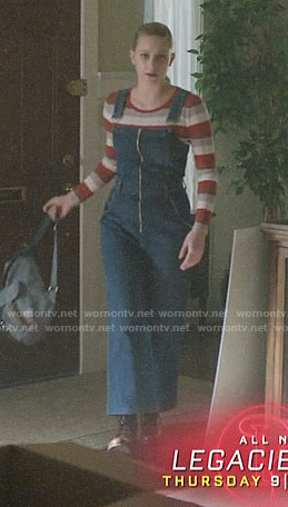 Betty's striped sweater and denim overalls on Riverdale