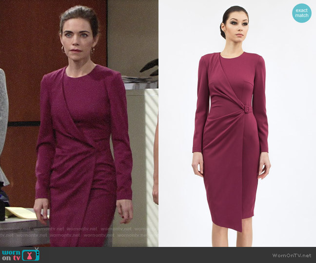 BGL Jewel Neckline Dress worn by Victoria Newman (Amelia Heinle) on The Young & the Restless