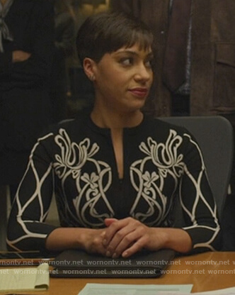 Lucca's black and white floral knit cardigan on The Good Fight