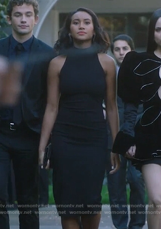 Caitlin's black bodycon dress on PLL The Perfectionists