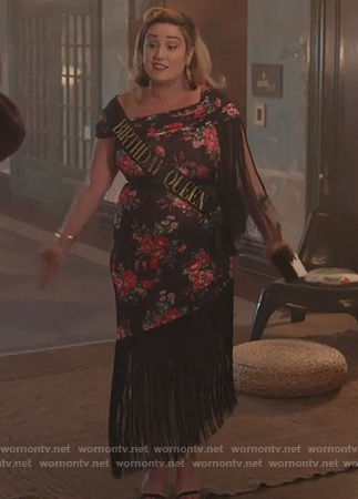 Davia's black floral Birthday Dress on Good Trouble