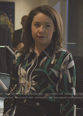 Marissa's black floral blouse on The Good Fight