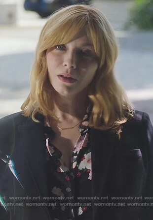 Beth's black floral print blouse on Good Girls