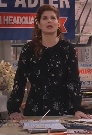 Grace's black floral mini dress on Will and Grace