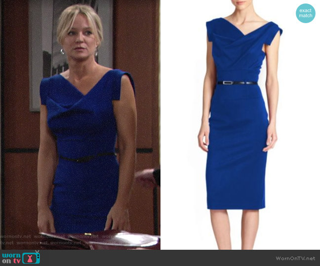 Black Halo Cobalt Jackie O Dress worn by Sharon Collins (Sharon Case) on The Young & the Restless