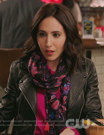 Valencia's black leather moto jacket on Crazy Ex Girlfriend
