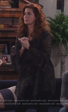 Grace's black meallic mini dress on Will and Grace