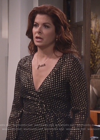 Grace's black metallic dotted dress on Will and Grace