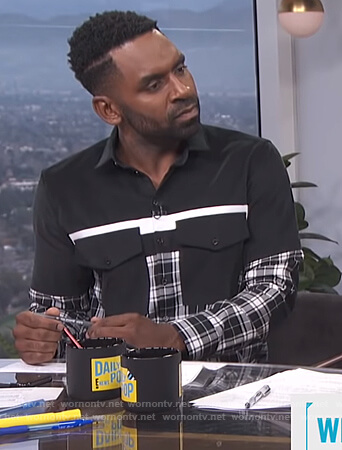 Justin's black plaid colorblock shirt on E! News Daily Pop
