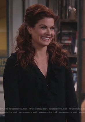 Grace's black ruffled blouse on Will and Grace