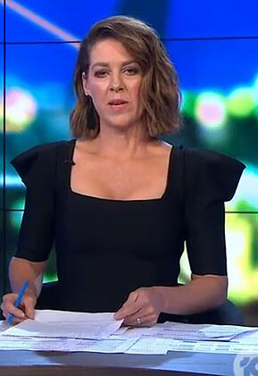 Gorgi's black square neck dress on The Project
